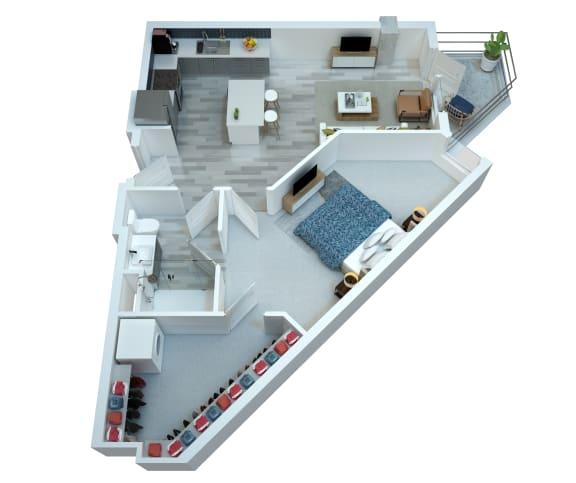 The Stewart One Bedroom Floor Plan - Bowie