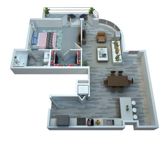 Floor Plan  The Stewart One Bedroom Floor Plan - Elton