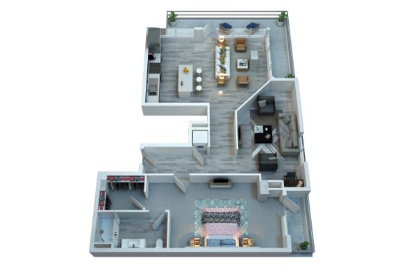 Floor Plan  The Stewart One Bedroom Floor Plan - Isley