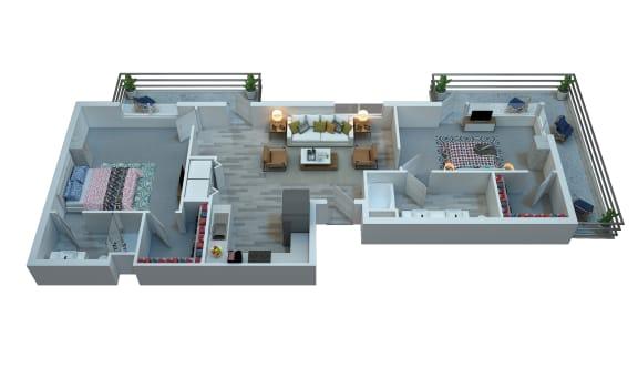 The Stewart Two Bedroom Floor Plan - Mercury