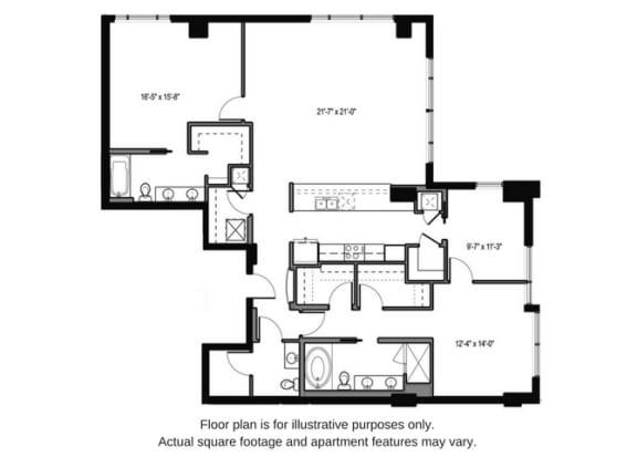 Floor plan at The Martin, Seattle, 98121