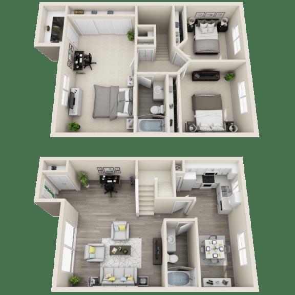 Floor Plan  Floor plan at Ocean Breeze Villas, Huntington Beach, California