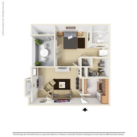 A1 - 1 bedroom 1 bath Floor Plan at Park at Caldera, Midland, 79705