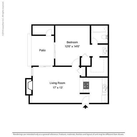 A1 - 1 bedroom 1 bath Floor Plan at Park at Caldera, Texas, 79705
