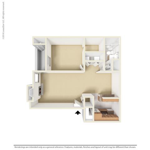 A2 - 1 bedroom 1 bath Floor Plan at Park at Caldera, Texas