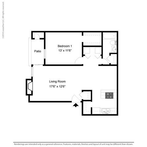 A2 - 1 bedroom 1 bath Floor Plan at Park at Caldera, Texas, 79705