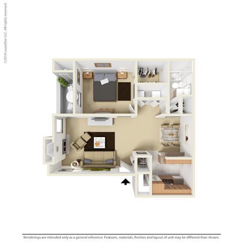 A2 - 1 bedroom 1 bath Floor Plan at Park at Caldera, Midland, TX, 79705