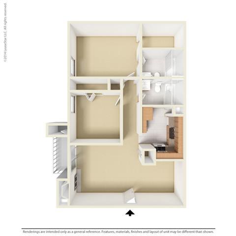 B1 - 2 bedroom 2 bath Floor Plan at Park at Caldera, Midland, TX, 79705