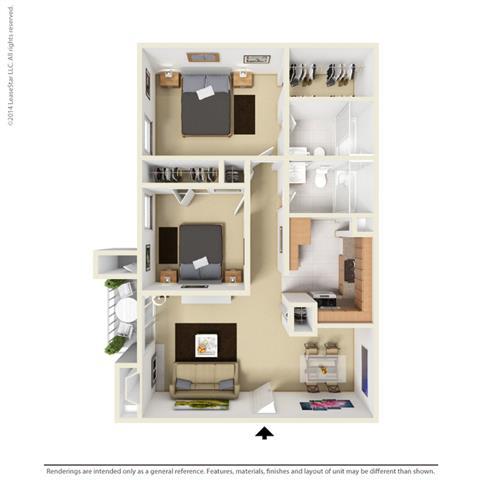 B1 - 2 bedroom 2 bath Floor Plan at Park at Caldera, Midland, 79705