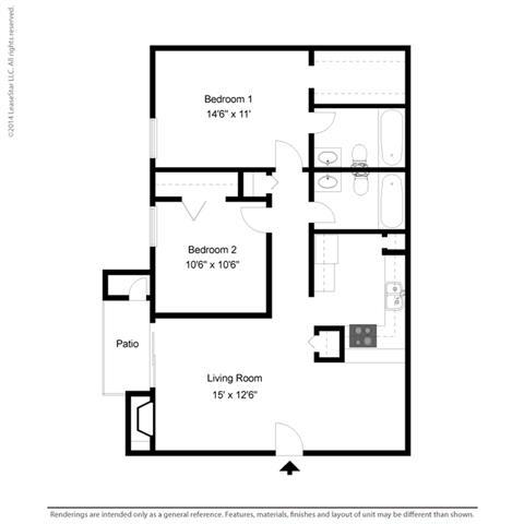 B1 - 2 bedroom 2 bath Floor Plan at Park at Caldera, Midland, Texas