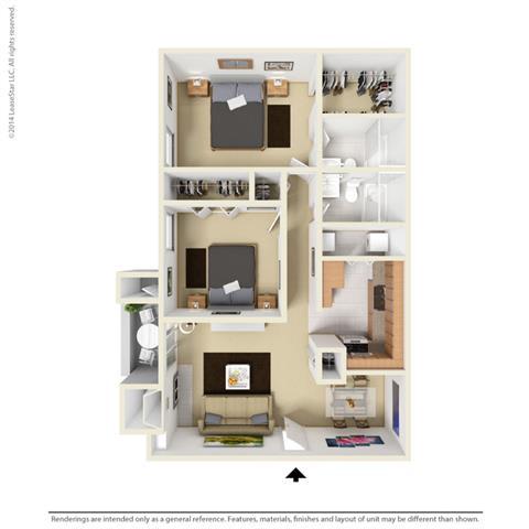 B2 - 2 bedroom 2 bath Floor Plan at Park at Caldera, Midland
