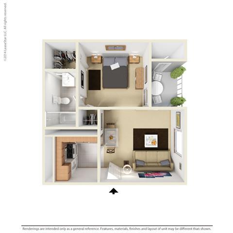 E1 - Studio bedroom 1 bath Floor Plan at Park at Caldera, Midland, TX, 79705