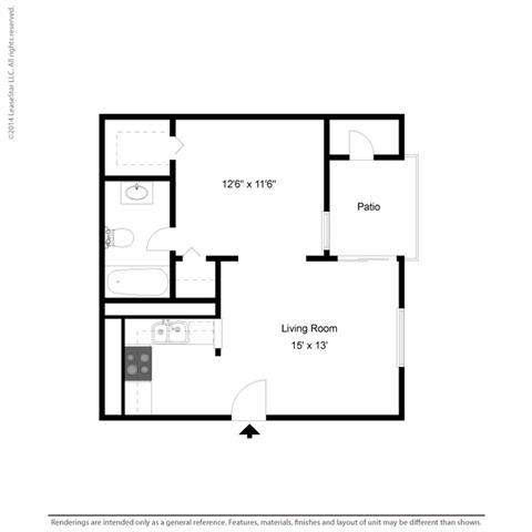 E1 - Studio bedroom 1 bath Floor Plan at Park at Caldera, Midland