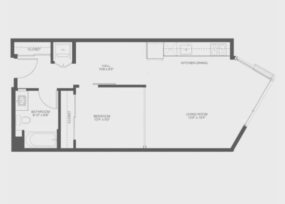1 Bed 1 Bath Babbet Floor Plan at The Gantry, San Francisco, CA, 94107