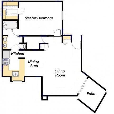 Casas lindas one bedroom apartment 1A - Ocotillo - FloorPlan