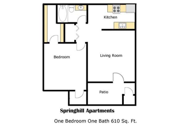 Springhill one bedroom apartment 2D floor plan