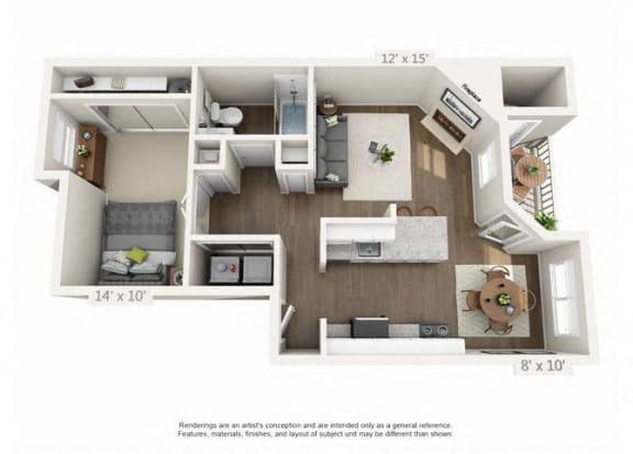 Floor Plan  1 Bed 1 Bath Floor Plan at Heatherbrae Commons, Milwaukie, OR