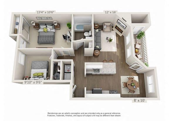Floor Plan  Renovated 2 Bed 1 Bath Floor Plan at Heatherbrae Commons, Milwaukie