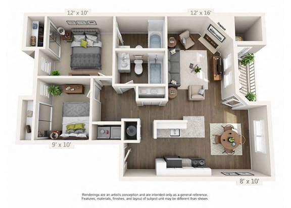 Floor Plan  Renovated 2 Bed 2 Bath Floor Plan at Heatherbrae Commons, Oregon, 97222