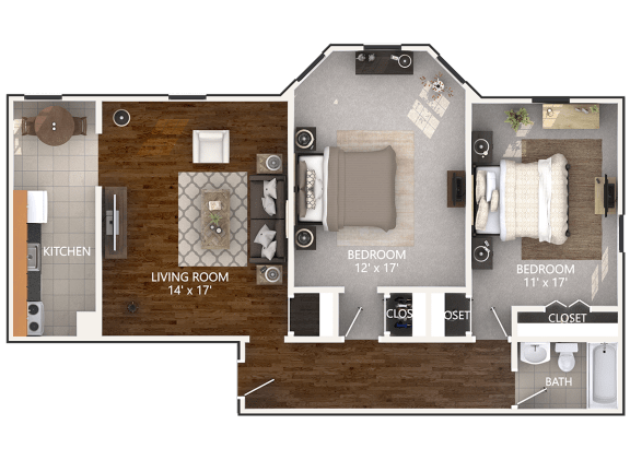 Floor Plan  2 Bedroom layout at Connecticut Plaza Apartments in Washington