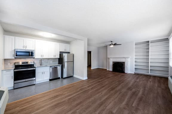 Floor Plan  open floor 1 bedroom with stainless steel appliances at Connecticut Plaza Apartments, District of Columbia