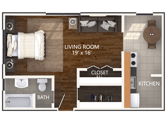Floor Plan  Small Studio Floor Plan at Connecticut Plaza Apartments. Connecticut Ave NW
