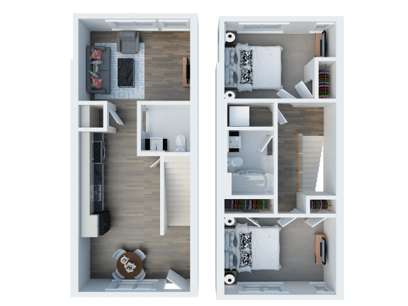 TH 2 Floor Plan l Coliseum Connection Apartments in Oakland, CA