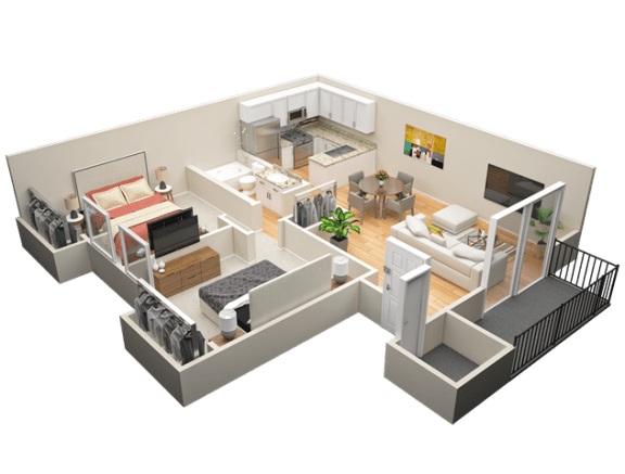 Floor Plan  Two Bedroom / One Bath B Floor Plan at The Trails at San Dimas, CA, 91773