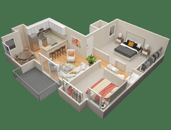 Floor Plan  Two Bedroom / One Bath A Floor Plan at The Trails at San Dimas, 444 N. Amelia Avenue, CA