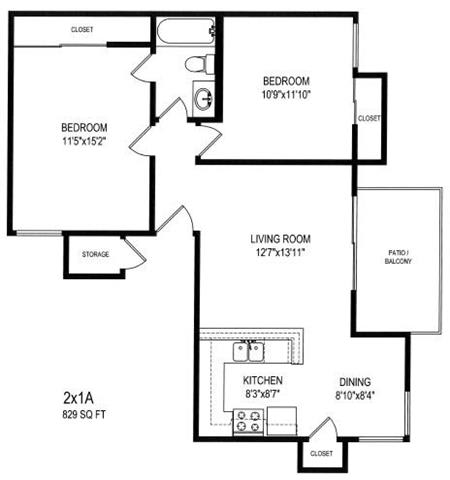 Two Bedroom / One Bath A Floor Plan at The Trails at San Dimas, San Dimas, CA 91773