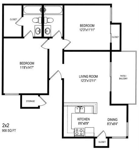 Two Bedroom Two Bath Floor Plan at The Trails at San Dimas, 444 N. Amelia Avenue, CA