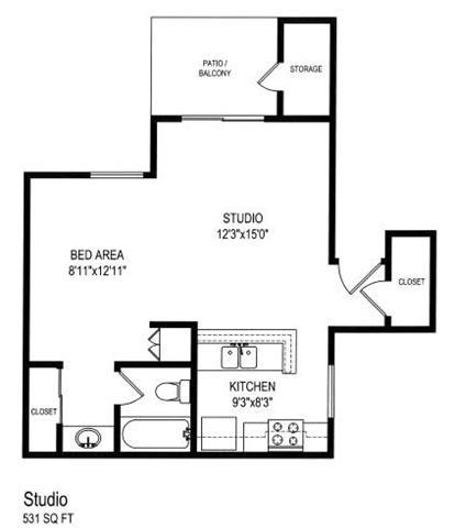 Studio Floor Plan at The Trails at San Dimas, California, 91773