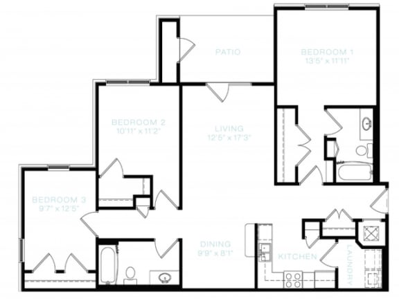 Floor Plan  Three Bedroom | Two Bathroom Floor Plan at The Standard at Whitehouse, Tennessee, 37188