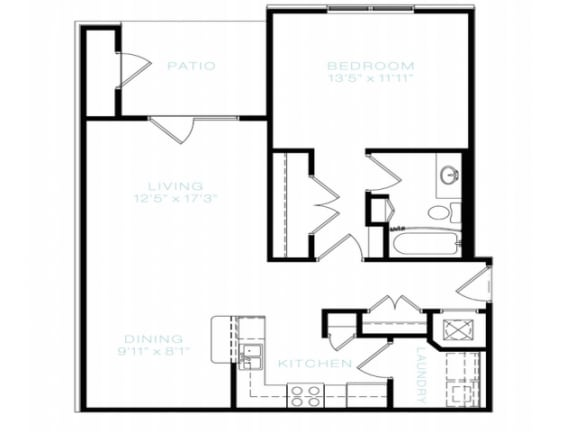 Floor Plan  One Bedroom | One Bathroom Floor Plan at The Standard at Whitehouse, Whitehouse