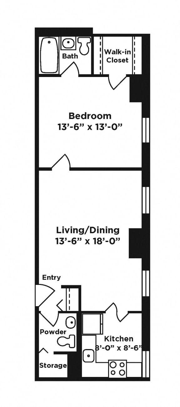 Floor Plan  1 bedroom apartment at Webster Hall in Pittsburgh, PA