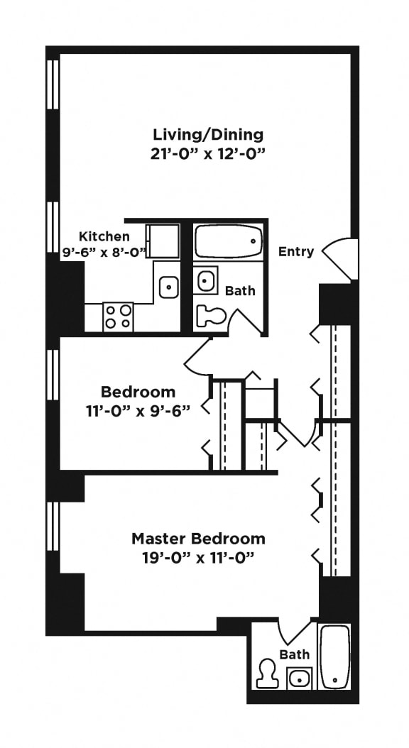 Floor Plan  2 bedroom apartment at Webster Hall in Pittsburgh, PA