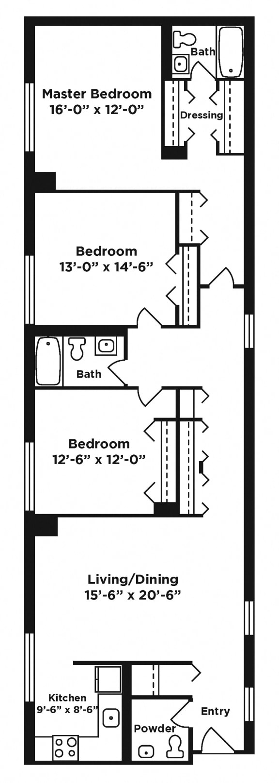 Floor Plan  3 bedroom apartment at Webster Hall in Pittsburgh, PA