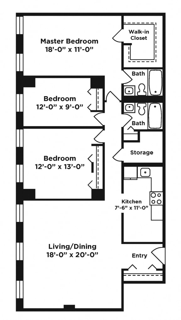 3 bedroom apartment at Webster Hall in Pittsburgh, PA
