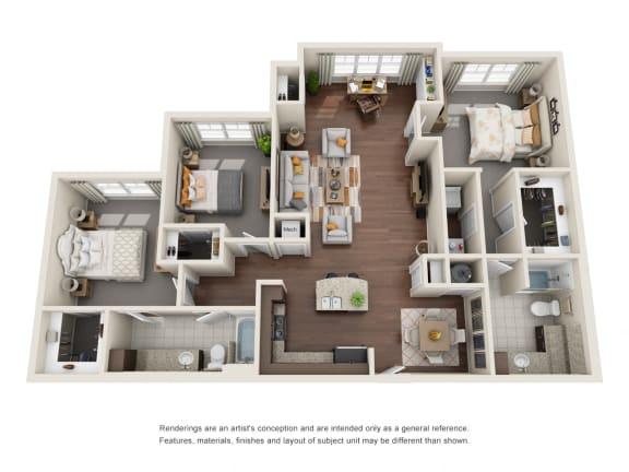 Floor Plan  Three Bedroom | Two Bathroom | Cabernet Floor Plan at The Gentry at Hurstbourne, Louisville, Kentucky