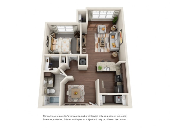 One Bedroom | One Bathroom | Equus Run Floor Plan at The Gentry at Hurstbourne, Kentucky, 40222