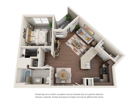 One Bedroom | One Bathroom | Verona Floor Plan at The Gentry at Hurstbourne, Kentucky