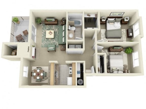 Floor Plan  Montair at Somerset Hill|Crystal|2Bed/1Bath