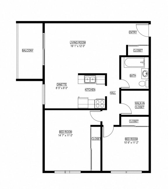 Floor Plan  2 Bed 1 Bath The Cascade Floor Plan Eagan Place Apartments in Eagan, MN_The Cascade