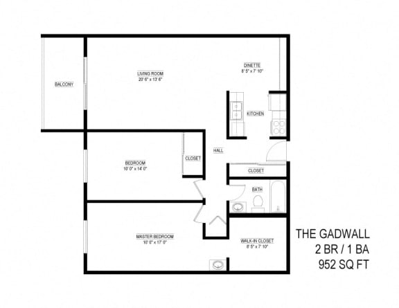 2 Bed 1 Bath The Gadwall Floor Plan at Eagan Place, Eagan, 55123