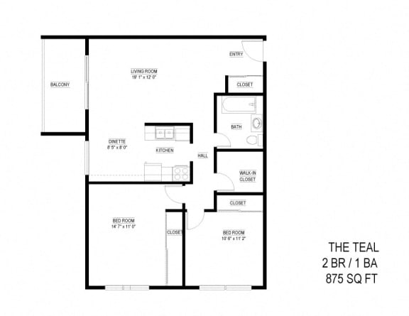 Floor Plan  2 Bed 1 Bath The Teal Floor Plan at Eagan Place, Eagan, Minnesota