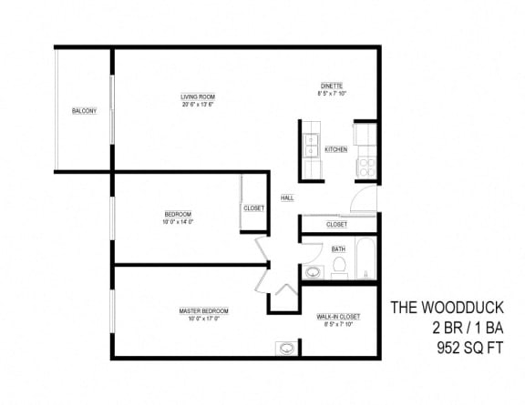 Floor Plan  2 Bed 1 Bath The Woodduck Floor Plan at Eagan Place, Eagan