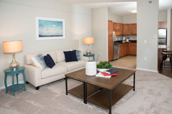 Contemporary Living Room at Waterstone Place, Minnetonka