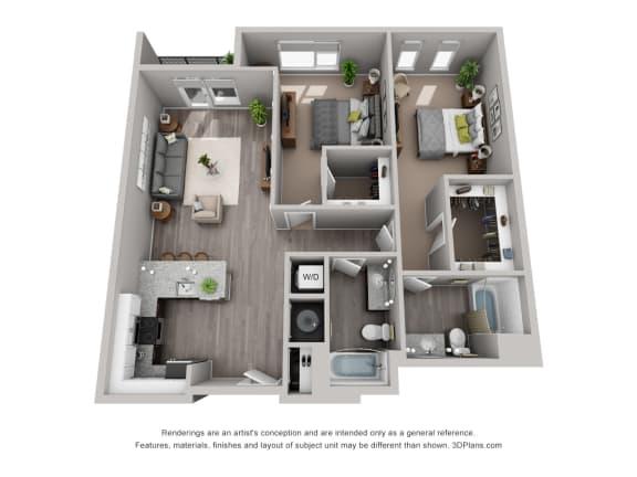 Floor Plan  Meridian Floor Plan is a 2 Bed, 2 Bath Option at 1,394 Square Feet