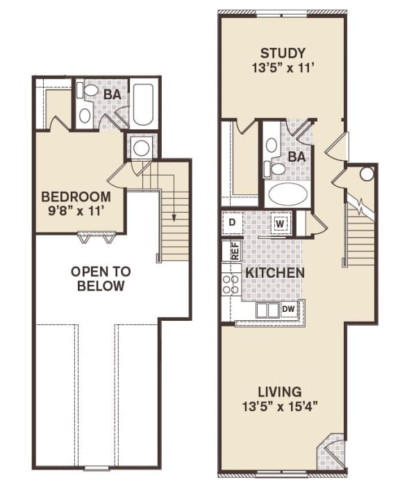 Providence At Old Meridian One bedroom wtih study apartment in Carmel Indiana