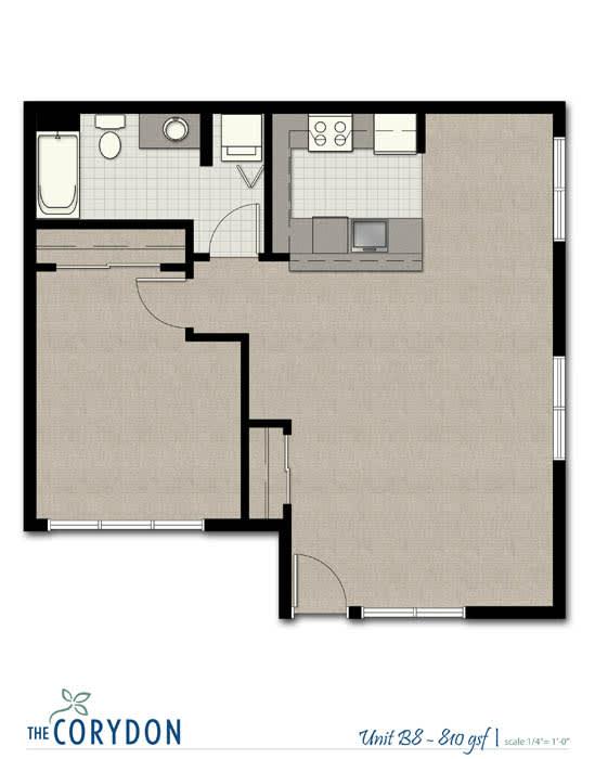 Floor Plan  One Bedroom B8 FloorPlan at The Corydon, Seattle, Washington